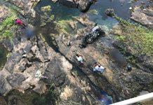Casal em moto caiu de ponte na BA-046. Foto: Carlos José/Site do Voz da Bahia/Reprodução