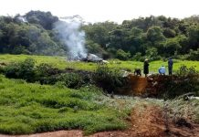 Aeronave caiu em fazenda perto de Jequitaí. Foto: Samu/Divulgação