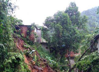 Chuva causa deslizamento no Rio de Janeiro. Foto: Defesa Civil