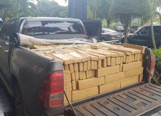 A droga estava acondicionada dentro do veículo e na caçamba. Foto: Divulgação