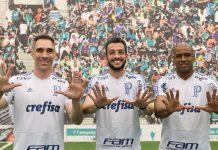 Prass, Dracena e Jailson. Foto: Cesar Greco/Agência Palmeiras