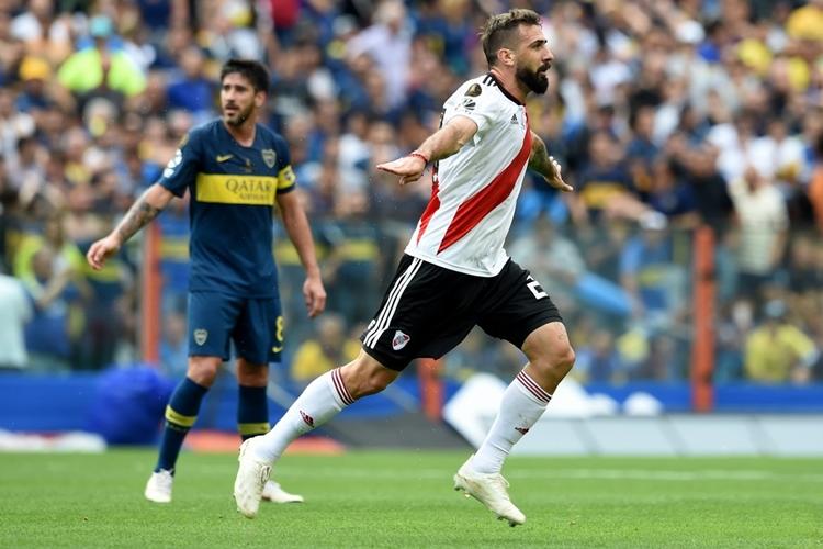 Lucas Pratto comemora gol do River Plate. Foto: Diego Haliasz/River Plate