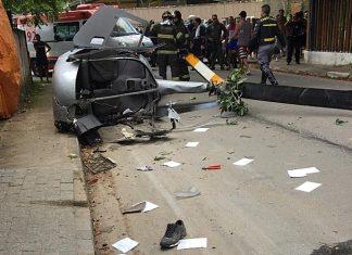 Helicóptero cai e mata pedestre em Ubatuba. Foto: Arquivo Pessoal/Reprodução