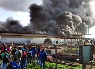 Incêndio atinge usina de Belo Monte. Foto: Reprodução