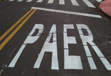 'PAER', diz sinalização feita em cruzamento de Maringá. Foto: Reprodução