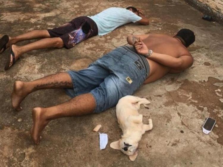 Suspeitos deitados ao lado de cachorrinha durante abordagem. Foto: Reprodução/Passeando em Campo Grande