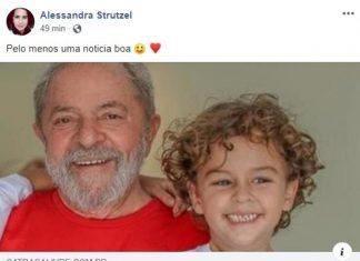 Blogueira comemora a morte do neto de Lula. Foto: Reprodução
