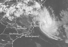 Imagem mostra tempestade tropical próxima à costa brasileira. Foto: Rodrigo Cunha/Arte G1/Climatempo/Reprodução