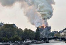 Fogo na Catedral de Notre-Dame, em Paris. Foto: Reprodução