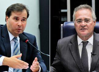 O presidente da Câmara, Rodrigo Maia (esq.) e o senador Renan Calheiros. Foto: Agência Brasil