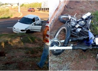 Carro e moto se envolveram em acidente. Foto: Gazeta do Dia/Cedida