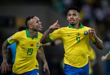 Gabriel Jesus comemora gol diante do Peru. Foto: Felipe Moreno/MoWA Press