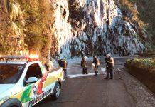 Serra do Rio do Rastro, em Santa Catrina, amanheceu congelada. Foto: PMRv/Divulgação