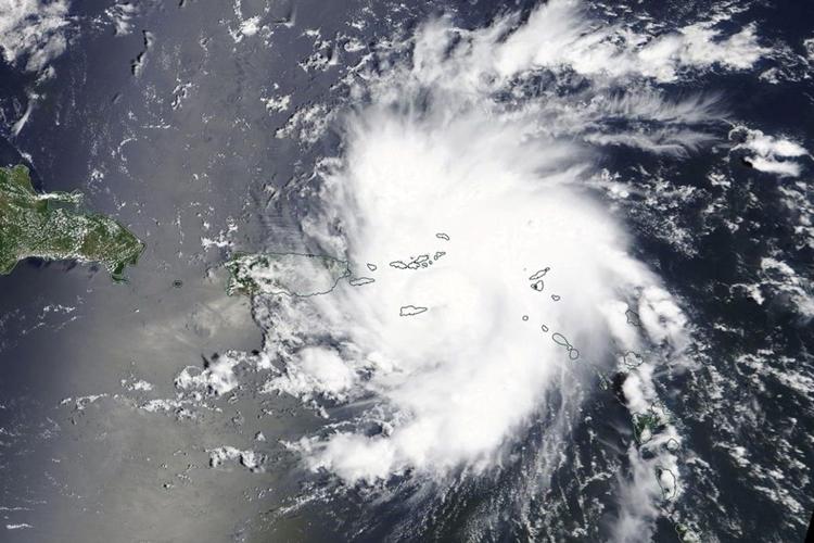 Imagem por satélite do furacão Dorian perto de São Tomás e das Ilhas Virgens dos EUA. Foto: Divulgação/NASA Worldview
