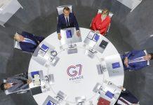 Reunião do G7. Foto: Laurent Blevennec/Présidence de la République