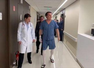 Bolsonaro faz caminhada pelo corredor do hospital. Foto: Reprodução