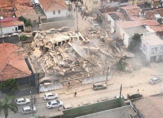 Prédio desabou em área nobre de Fortaleza. Foto: Reprodução/SVM