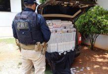 PRF apreende cigarros contrabandeados. Foto: Divulgação