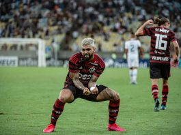 Gabigol comemora gol pelo Flamengo. Foto: Alexandre Vidal/Flamengo