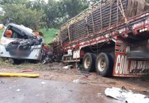 Batida entre ônibus e caminhão deixou 11 passageiros mortos. Foto: PRF/Divulgação