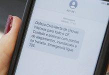 Serviço de SMS da Defesa Civil Nacional ajuda a salvar vidas. Foto: Divulgação