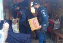 PM fazendo entrega de alimentos. Foto: Divulgação
