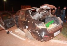 Carro capotou durante perseguição em Nova Andradina (MS). Foto: Luis Gustavo/Jornal da Nova/Reprodução