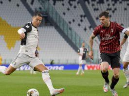 Cristiano Ronaldo durante jogo contra o Milan. Foto: Juventus/Reprodução