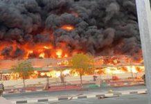Incêndio atinge mercado em Ajmã. Foto: Reprodução