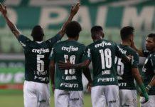 Jogadores do Palmeiras comemoram gol diante da Ponte Preta. Foto: Cesar Greco/Agência Palmeiras