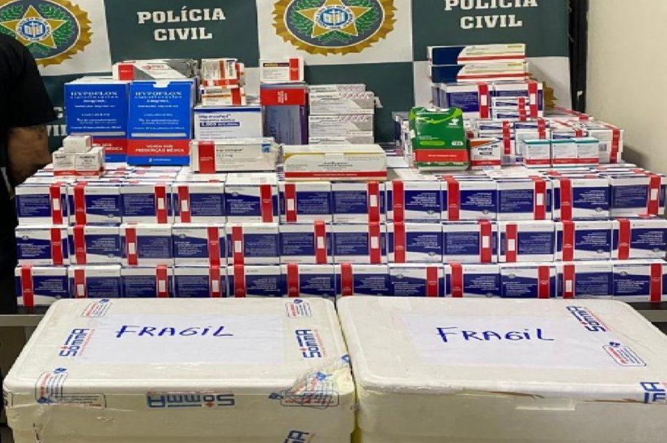 Polícia Civil apreende cerca de 800 caixas de medicamentos avaliados em R$ 1 milhão. Foto: Divulgação