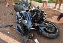 Moto envolvida no acidente. Foto: Adauto Dias/DiasMS/Reprodução