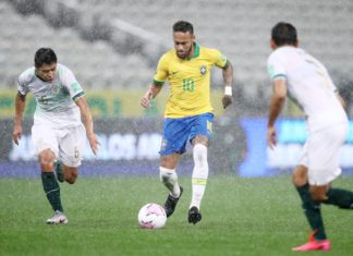 Neymar no jogo entre Brasil e Bolívia. Foto: Pool de Agências/Mowa Press