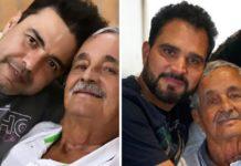 Francisco de Camargo com filhos Zezé e Luciano. Foto: Reprodução