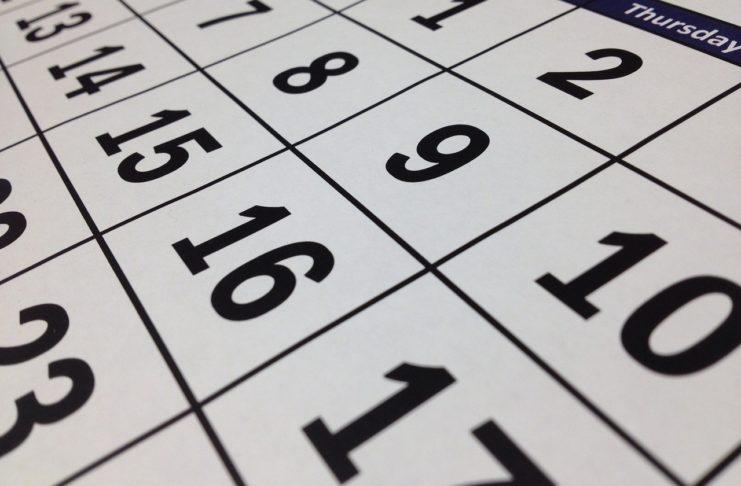 Calendário. Foto: Pixabay