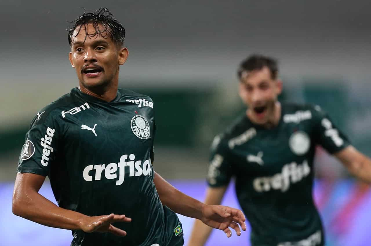 Gustava Scarpa comemora seu gol pelo Palmeiras. Foto: Cesar Greco/Agência Palmeiras