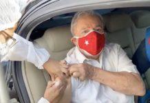 Lula toma a segunda dose da vacina contra o coronavírus. Foto: Reprodução/@LulaOficial