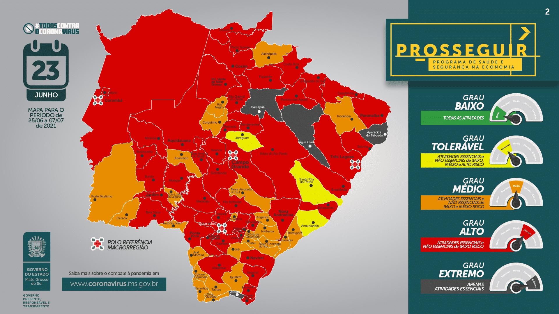 Nova atualização do Prosseguir classifica 60% dos municípios de MS na bandeira vermelha. Foto: Divulgação