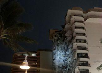 Prédio colapsa parcialmente em Miami, na Flórida. Bombeiros e policiais trabalham no local. Foto: Twitter/Polícia de Miami Beach