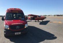 Aeronave e viaturas mobilizadas no resgate da vítima. Foto: Divulgação