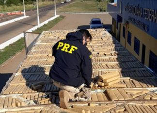 PRF apreende 860 kg de maconha em Bataguassu (MS). Foto: Divulgação
