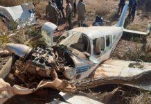 Avião ficou destruído após queda em Poconé (MT). Foto: Corpo de Bombeiros/Reprodução