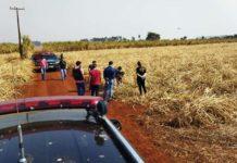 Corpo é encontrado por populares às margens de estrada vicinal em Lagoa Bonita. Foto: Dourados News/Reprodução