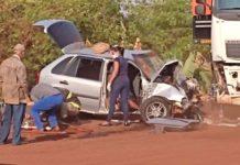 Acidente entre Dourados e Fátima do Sul matou mulheres e deixou policial ferido. Foto: Reprodução